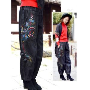 Femme Ethnique Pantalon Jeans Floral Broderie Taille Élastique Jean Desseré Bas