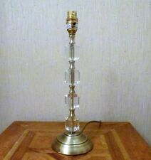 ANTIQUE BRASS AND CRYSTAL GLASS TABLE LAMP 14HIGH