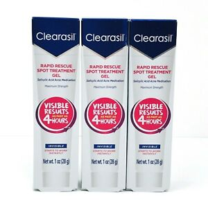 Clearasil Rapid Rescue Acne Spot Treatment Gel 3x 1 oz Max Strength Exp 2/2023