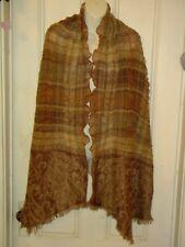 BOHO scarf/shrug/wrap/shawl brown fringed ruffled VIVANTE NWT new with tags