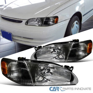 For 98-00 Toyota Corolla Matte Black Headlights Corner Signal Lamps Left+Right