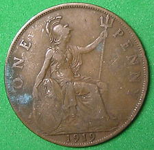 Lot of 10 Different Great Britain 1 Penny Coins 1912-1921 George V