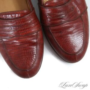 #1 MENSWEAR Cole Haan Made in Italy Genuine Lizard Chili Low Vamp Loafers 11.5