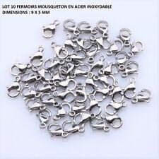 LOT 10 FERMOIR MOUQUETON ACIER INOXYDABLE ANTI ALLERGIQUE 9 X 5 MM APP036