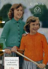 VINTAGE KNITTING PATTERN P&B 390 DK CHILDS SWEATER AND CHUNKY JACKET