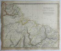 South America Guyana North Brazil Suriname 1836 SDUK detailed antique map