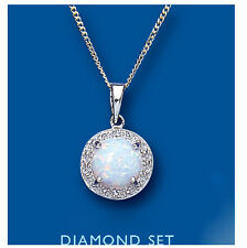 Opal Pendant Diamond Necklace Solid Sterling Silver