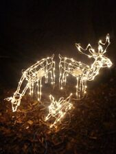 Large Reindeer Family LED Lights Indoor Outdoor Rope Christmas Moving Decor Home
