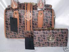 GUESS Heritage Quatro G Logo Frame Satchel Handbag & Clutch Wallet Black/Cognac