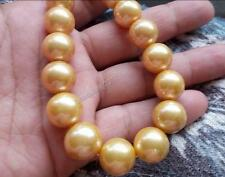 "18"" Charming AAA+ 16mm Real natural south sea golden Edison pearl necklace 14k"