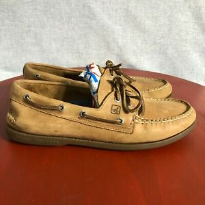 Sperry Top Sider Men's Size 10.5 Brown Leather Lace Up Casual Two Eye Boat Shoes