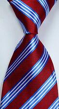 New Classic Striped Red Blue White JACQUARD WOVEN Silk Men's Tie Necktie