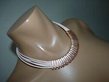 "Dansk Smykkekunst 'Tracey'  Rose Gold Taupe Leather Necklace 18""-21"""