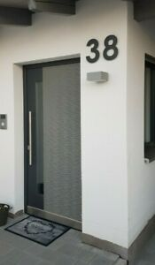 Hausnummer Anthrazit 25 cm hoch Pulver beschichtet RAL 7016 Aluminium 5mm 3D