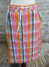 Orvis Orange Blue Plaid Plaid Women's Drawstring Skirt Size 6 Modest