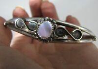 """Vintage HL Sterling Silver Southwest Cuff Bracelet Mother of Pearl Herman Lee 7"""""""