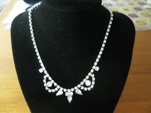"""VTG 15"""" CHOKER NECKLACE CLEAR CRYSTAL RHINESTONES ROUND SQUARE TEAR DROP STONES"""