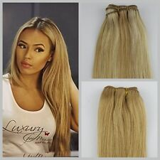 """100 Indian Virgin Hair Remy Clips in Human Real Hair Extensions #27 Blonde 20"""" 70g 7 Pcs"""