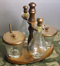 Vintage Wood Glass Relish Dish Tray Teak Woodcrest Styson