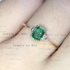 Genuine Emerald Gemstone Wedding Ring Diamond Pave Solid 14k Yellow Gold Jewelry