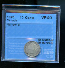 1870 Narrow 0 Canada 10 Cents CCCS Certified VF20 DCB196