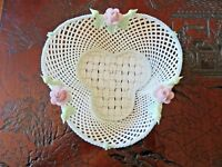 Pristine Belleek Shamrock Four Strand Basket 4th Period Strap Mark
