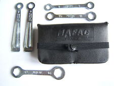 NOS MAFAC BLACK TOOL BAG WITH 5 SMALL STEEL TOOLS 1970's