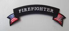 FIREFIGHTER ROCKER PATCH - BIKER VEST PATCH - FIREMAN - USA FLAG FIRE DEPARTMENT