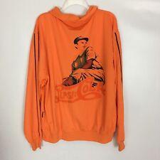Men's Vintage Style Orange Pepsi Cola Track Jacket Baseball Player Size XL AS-IS