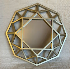 "Small Gold Decorative Mirror New 11"" Frame Gold Octagon 5"" Mirror Stunning"