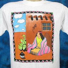 NOS vintage 80s NATIVE AMERICAN SQUAW PAPER THIN T-Shirt M/L zuni indian cartoon