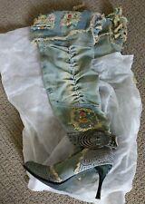 Knee high embellished denim boots size 7