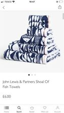 BNWT John Lewis Shoal Of Fish Terry Cotton Bath Mat & Face Cloths X2 RRP£21