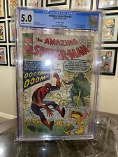 AMAZING SPIDER-MAN #5 CGC 5.0 OW/WH 1ST DR DOOM CROSSOVER Rare UK Pence Variant