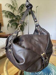 HELENA DE NATALIO XL Pebbled Boho Brown Leather Hobo Shoulder Carryall Bag RARE