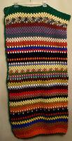 Crocheted Granny Afghan Hand Made Colorful Boho Music Festival Blanket 44 x 50