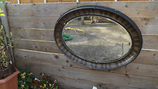Large Victorian decorative, oval, bevel edged wall, hall mirror 93cm x 69cm