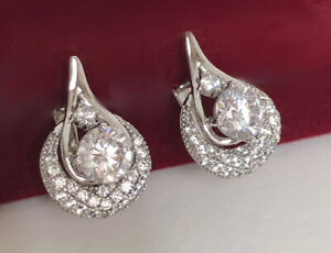 Ohrringe Creolen mit Swarovski® Kristallen silber Weißgold 18K vergoldet