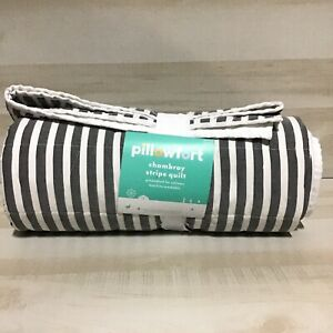 Pillowfort Chambray Stripes Quilt Black 66 in x 88 in Cotton Prewashed Twin