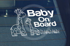 SBD Static Cling Window Car Sign/Decal Giraffes Baby on Board 100 x 150mm