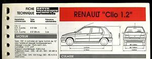 "Fiche Technique Automobile R.T.A ; RENAULT "" Clio 1.2 """