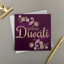 Diwali Greeting Card/Purple Paisley | Designed and Printed in the UK