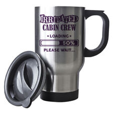 Purple Irritated Cabin Crew Loading Funny Gift Idea Silver Travel Mug work 033