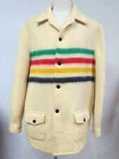Vintage 50s HUDSON BAY Wool Jacket Coat Stripe Blanket 4 Point Canada