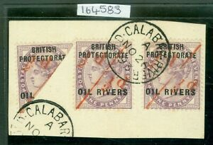 SG 7/7a Nigeria 1893. Oil Rivers protectorate provisional-surcharges ½d on...