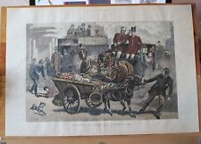 Horse Drawn Carriage, Coach, Donkey Cart, Vegetable Peddler, 1890 Antique Print.