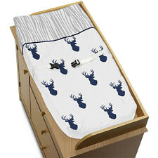 Changing Table Pad Cover For Sweet Jojo Woodland Navy Deer Baby Boy Bedding Set