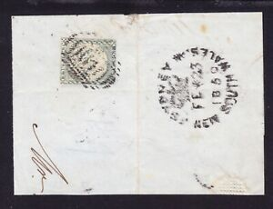 1850-TWO PENNY BLUE PLATE 1-later impressions-Dull Blue on piece with dump oblit