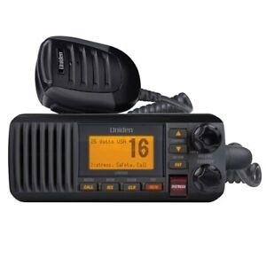 Uniden UM385BK Fixed Mount VHF Marine Radio w/ IPX4/JIS4 Waterproof Level -Black