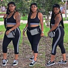 Women sleeveless side checks plaids bodycon club party sports jumpsuit 2pc